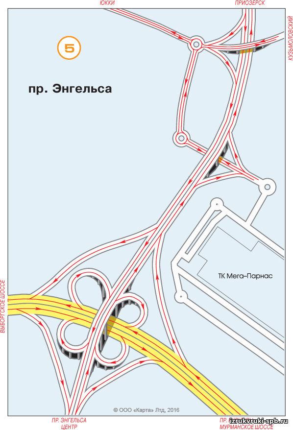 Схема съездов с кад на приморское шоссе
